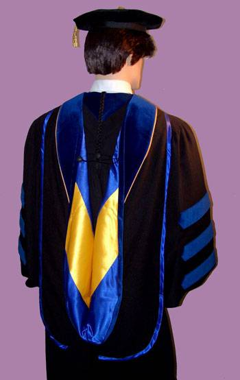 ... gown with sky blue piping doctoral tam and ed d academic hood phd hood